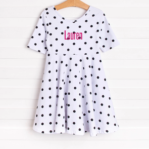 Darling Dots Dress, Black Dots