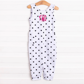 Darling Dots Long Romper, Black Dots