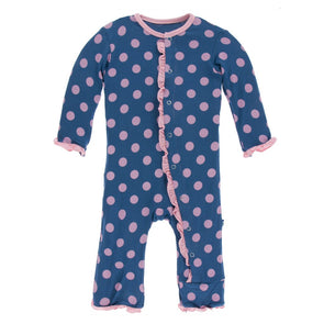 Kickee Pants Print Layette Classic Ruffle w/Zipper - Twilight Dots