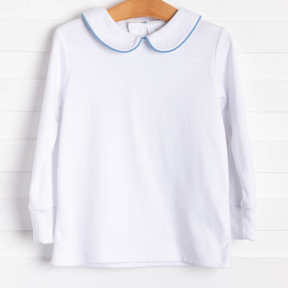 Gentry Shirt, White w/Blue Piping