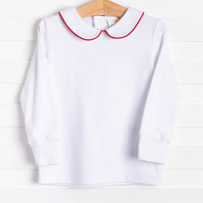 Gentry Shirt, White w/Red Piping