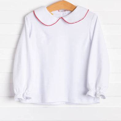 Genevieve Shirt, White w/Red Picot