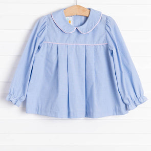 Mary Top, Blue Gingham