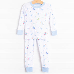 Kissy Kissy Dragon Towers Pajama Set, Blue