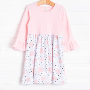 Miss Valentine Ruffle Sleeve Dress, Light Pink