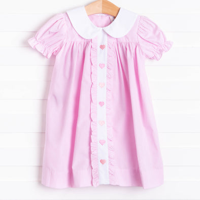 Sweetheart Embroidered Ruffle Dress, Pink