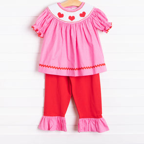 Be Mine Smocked Heart Pant Set, Pink