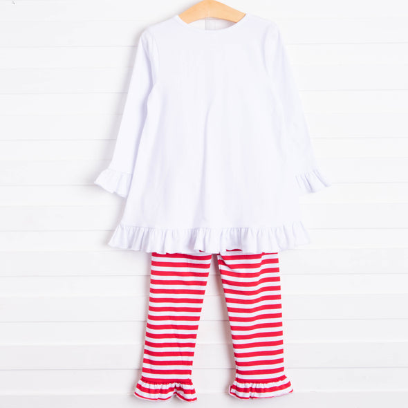Forever Friends Heart Applique Pant Set, Red