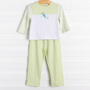 Leo Airplane Green Pant Set