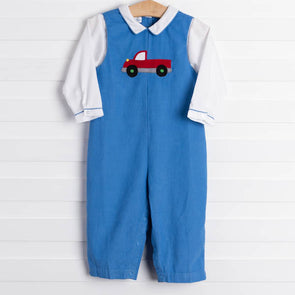 Travis Red Truck Romper Set