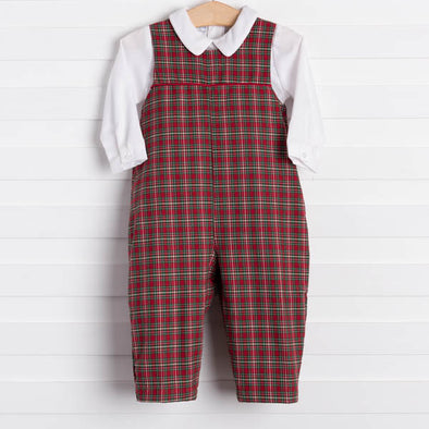 Petit Pomme Christmas Plaid Long Romper