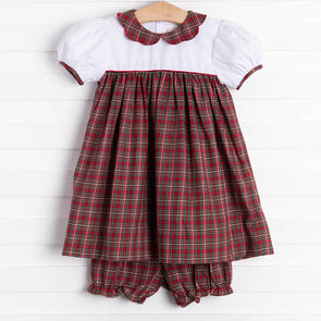 Petit Ami Christmas Plaid Dress Set