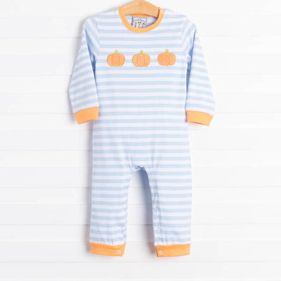 Little Pumpkin Trio Blue Stripe Romper