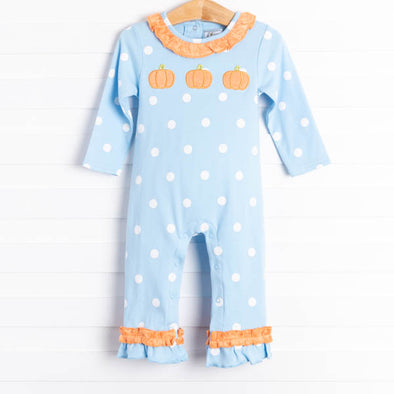 Little Pumpkin Trio Blue Dot Romper