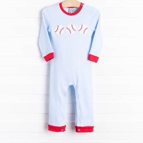 Three Sisters Baseball Trio Blue Applique Romper