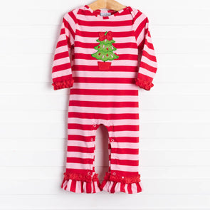 Three Sisters O' Christmas Bow Tree Applique Romper