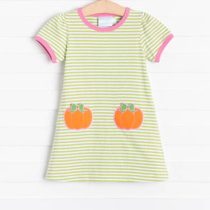Little English Pumpkin Time Green Applique T-Shirt Dress
