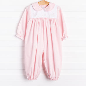 Auraluz Amaya Pink Embroidered Tulips Long Romper