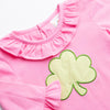 Cutest Clover Applique Ruffle Romper, Pink
