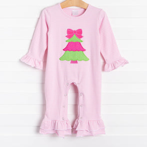 Rockin Around the Christmas Tree Applique Pink Ruffle Romper