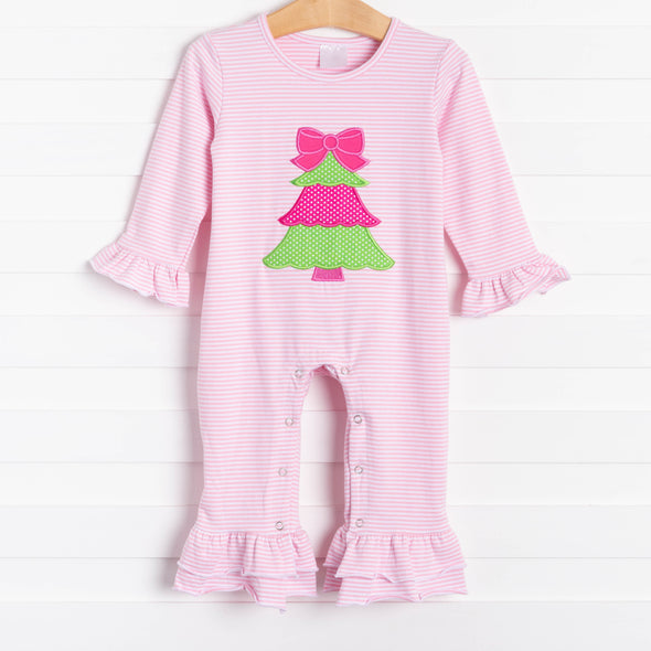 Rockin Around the Christmas Tree Applique Ruffle Romper, Pink Stripe
