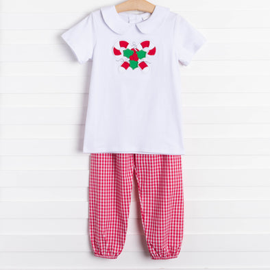 Holly Jolly Candy Cane Applique Red Gingham Pant Set