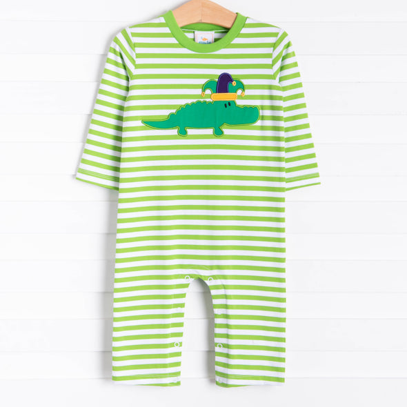 Court Jester Croc Applique Romper, Green