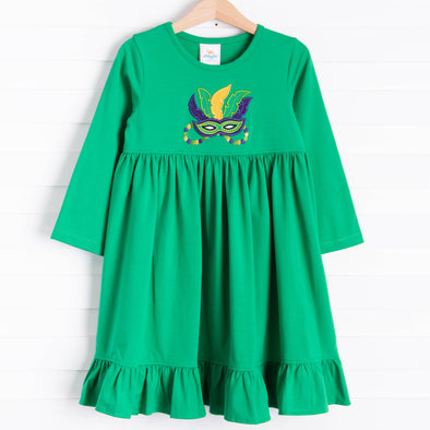 Masquerade Applique Dress, Green