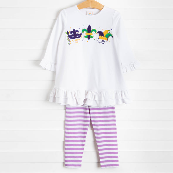 Fleur de Fun Embroidered Ruffle Dress Set, Purple