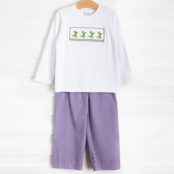 Carnival Croc Smocked Pant Set, Purple