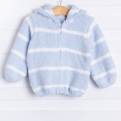Angel Dear Snuggle Up Chenille Jacket, Light Blue Stripe