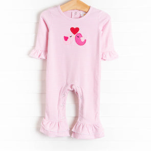 Love Birds Applique Romper, Pink