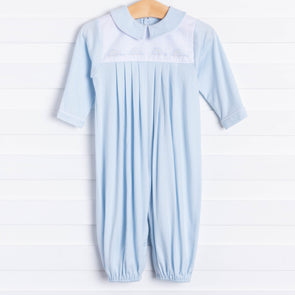 Auraluz Drive Time Car Embroidered Blue Romper