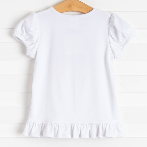 Egg Hunt Applique Ruffle Shirt, White