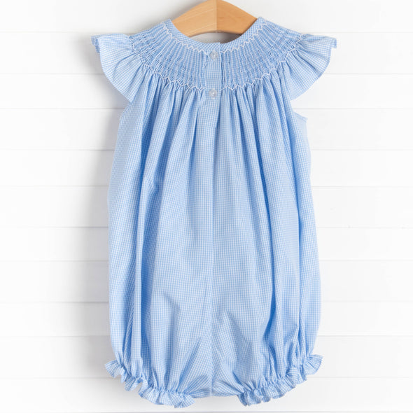 Little Ewe Smocked Bubble, Blue