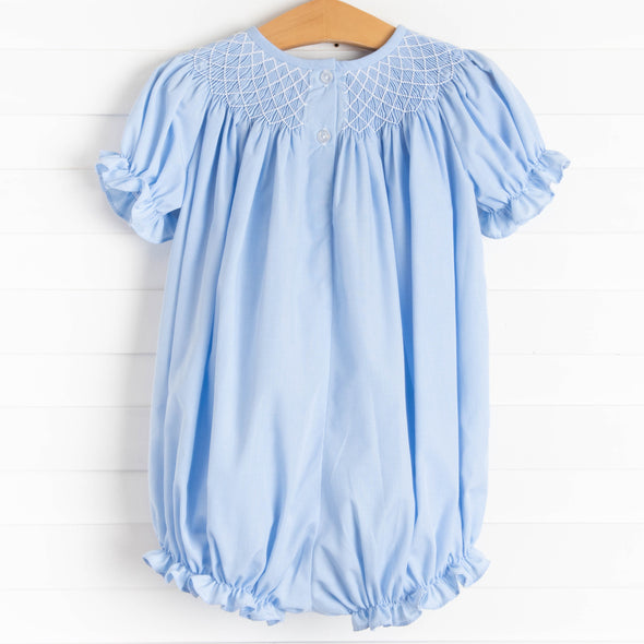 Easter Wishes Smocked Girl Bubble, Blue