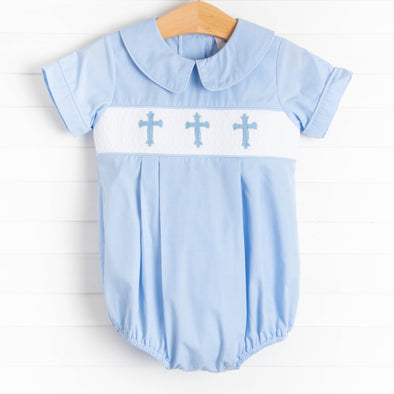 Easter Wishes Smocked Boy Bubble, Blue