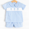 Easter Wishes Smocked Short Set, Blue