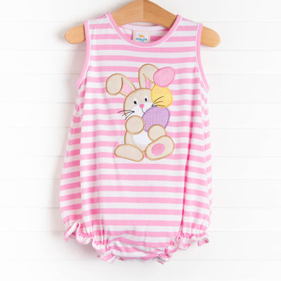 Egg-static Bunny Applique Bubble, Pink