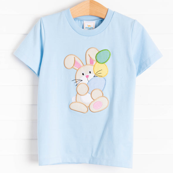 Egg-static Bunny Applique Shirt, Blue