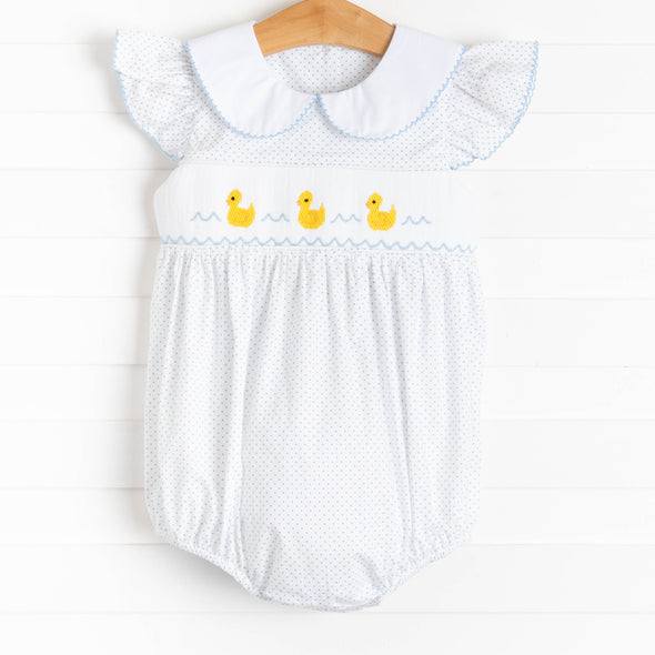 First Quack at Spring Smocked Girl Bubble, Blue Bitty Dot