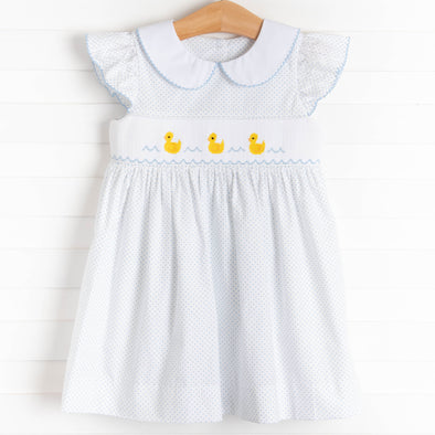 First Quack at Spring Smocked Dress, Blue Bitty Dot