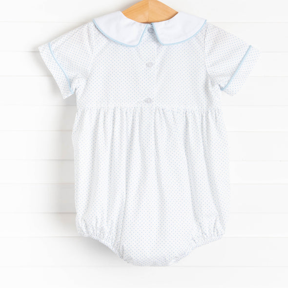 First Quack at Spring Smocked Boy Bubble, Blue Bitty Dot