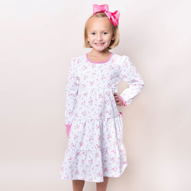 Betty Twirl Dress, Light Pink Floral