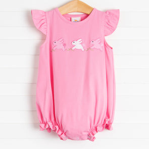 Hippity Hoppity Applique Girl Bubble, Pink