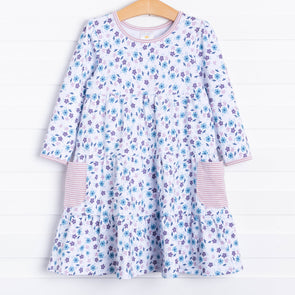 Betty Twirl Dress, Blue Mauve Floral