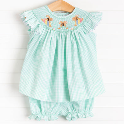 Easter Parade Smocked Bloomer Set, Mint