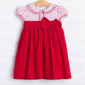Marco & Lizzy Sleigh Belle Red Corduroy Dress
