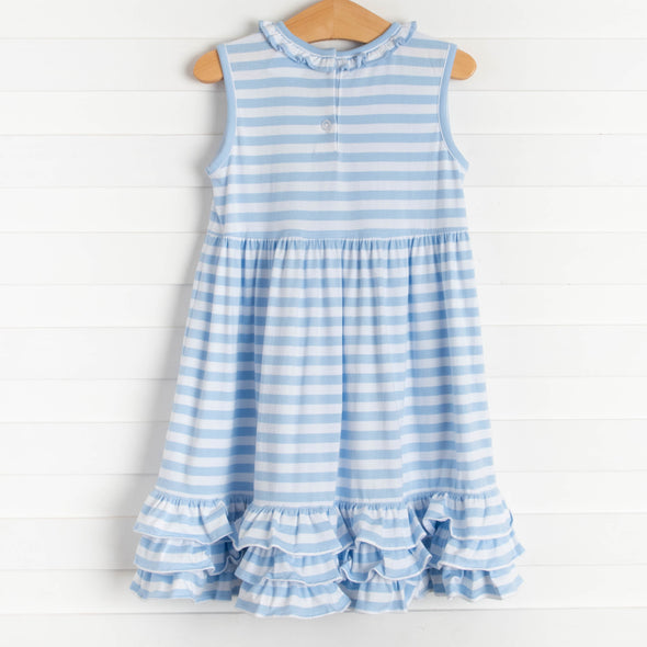 Blue Bunny Applique Dress, Blue Stripe