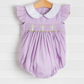 Lavender Crosses Smocked Bubble, Lavender